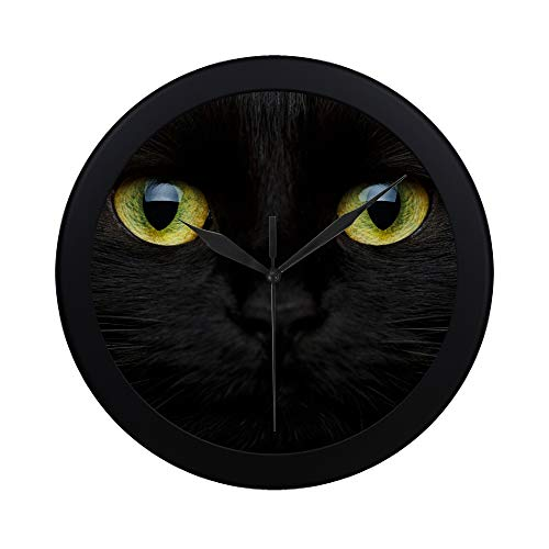 WBSNDB Modern Simple Happy Halloween Cute Muzzle Black Cat Pattern Wall Clock Indoor Non-Ticking Silent Quartz Quiet Sweep Movement Wall Clcok for Office,Bathroom,livingroom Decorative 9.65 Inch -