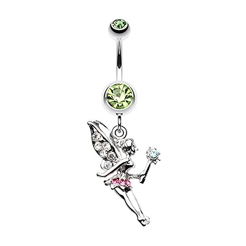 (Bazooky Magical Fairy Belly Button Ring (Pick Your Color) (Light Green))