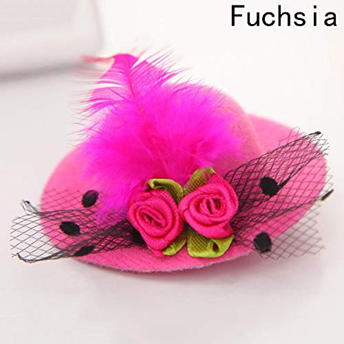 (Cute Hat Hair Baby Girls Party Net Yarn Shiny Hair Clip Children's Hat Headband Feathered Flowers Hair Accesries Hairpins)