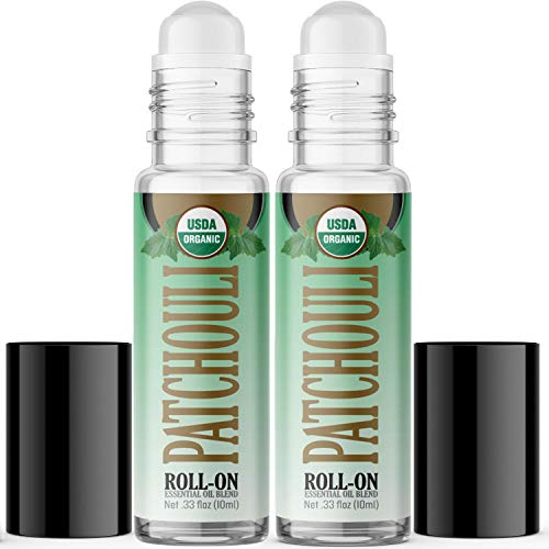 Organic Patchouli Essential Oil Roll On (2 Pack - USDA Certified Organic) Pre-diluted with Glass Roller Ball - 10ml Bottle