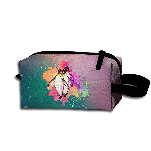 Funny Watercolor PENGUIN Travel Cosmetic Bag Portable Organizer Multifuncition Handbag (Leather Penguin Conditioner)