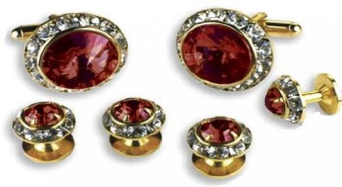 Ruby Stone Center Austrian Crystal Tuxedo Studs and Cufflinks Gold Trim