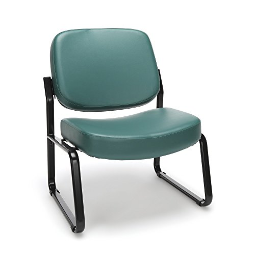 (OFM Big and Tall Armless Reception Chair - Anti-Microbial/Anti-Bacterial Vinyl Mid-Back Guest Chair, Teal (409-VAM) )