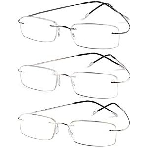 Specs Flexible Rimless Reading Glasses (Shiny Dark Gunmetal, Shiny Silver and Gold) +2.00 Pack of 3