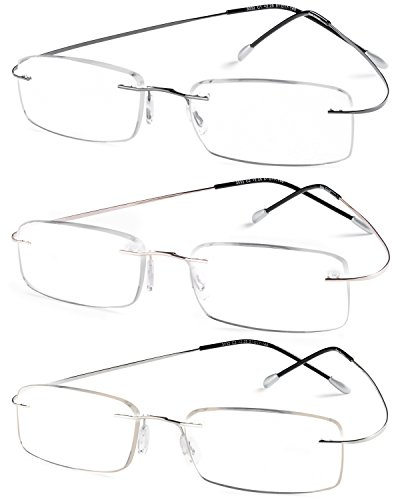 Specs Flexible Rimless Reading Glasses (Shiny Dark Gunmetal Shiny Silver and Gold) 1.50 Pack of 3