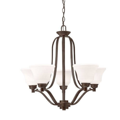 Kichler Lighting 1783OZ Langford 5-Light Chandelier, Olde Bronze Finish with Satin-Etched White Glass Shades by Kichler Lighting [並行輸入品] B018A2P2EI