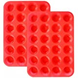 Silicone Mini Muffin Pan Silicone Molds, 2 Pack Silicone Mini Cupcake Pan with 24 Cups Muffin Tin (Red)