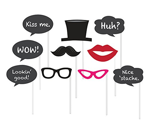 10 Assorted Photo Booth Props, Chalkboard -