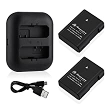 Powerextra 2 Pack Replacement EN-EL14 Battery and Ultra Slim Micro USB Charger for Nikon EN-EL14a , D3100, D3200, D3300, D3400, D5100, D5200, D5300, D5500, P7000, P7100, P7700, P7800, Df Camera