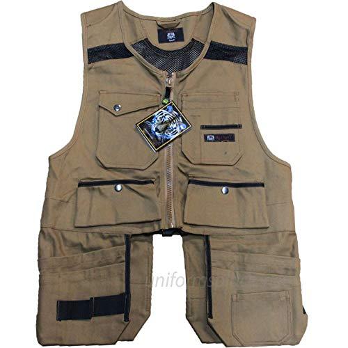 Men Work Vest Pockets Utility Vest Tool Pockets Pro Black, Brown, Khaki, Yellow by Tiger Trends (Image #1)
