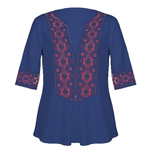 (Sunhusing Women's Deep V-Neck Bohemian Print Half Sleeve Tops Casual Beach Wind T-Shirt)