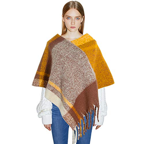 Regilt Women's Plaid Scarf Wrap Fashion Warm Tassels Tartan Patterns Shawl Scarves Cape for Fall Winter Cold Weather (Yellow)
