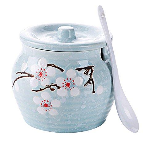 Ceramics Japanese Flower Sugar Bowl Seasoning Pot Salt Pepper Storage Jar with Lid And Spoon