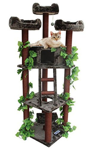 CozyCatFurniture Extra Large Cat Tower 75 inch Brown Kitty Tree