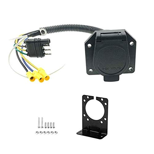 HOLA AMCS 4 Flat to 7 Way RV Blade Trailer Adapter Plug with Connector Socket Mounting ()