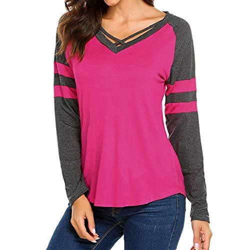 Trydoit Longues Coton Vif Nuit Chemise T Rose Shirts Femme Manches rtvr1q