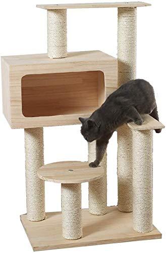 FTFDTMY Massivholz Katzenhaus, große Sisal Kiefer Katze Klettergerüst Tierhandlung Katzenmöbel Kratzbaum Katzen…