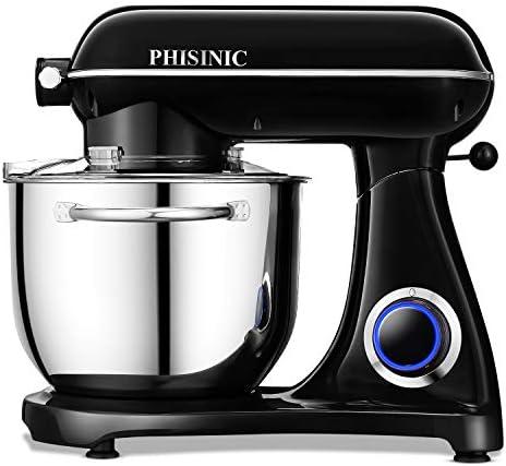 Impastatrice Planetaria, PHISINIC Robot da Cucina 6.5L 1800W, Kitchen Mixer Multifunzione, Metallo, con punto di raccordo (Nero)