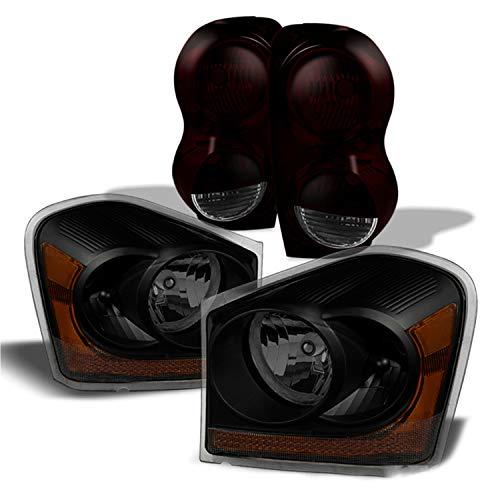 Fits 2004-2005 Dodge Durango Black Smoked Headlights + Dark Red Smoked Tail Lamp Pair Left+Right Replacement