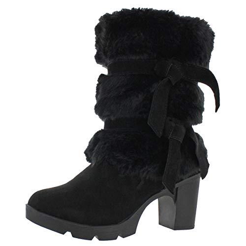 BEARPAW - Womens Bridget Solids Boots, Size: 8 B(M) US, Color: Black Ii (Boots Fur Wedge Womens)