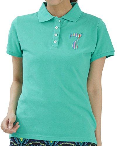 カラーストレッチポロシャツ グリーン デルソル ゴルフウェア レディース 大きいサイズ M L 鹿の子ポロシャツ 半袖 ゴルフ