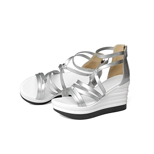 Urethane Zip Toe Silver Wedges Ladies Sandals Round AdeeSu IXxvawn8q