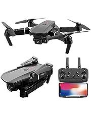 E88 Pro-drone met 4K-camera voor volwassenen, WiFi FPV 1080P HD-drone met dubbele camera, opvouwbare drone RC-quadcopter met hooghoudstand, hoofdloze modus, visuele positionering