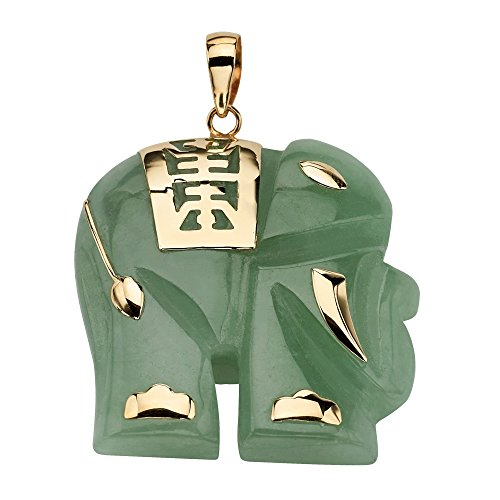 14K Yellow Gold Genuine Green Jade Good Luck Elephant Charm Pendant