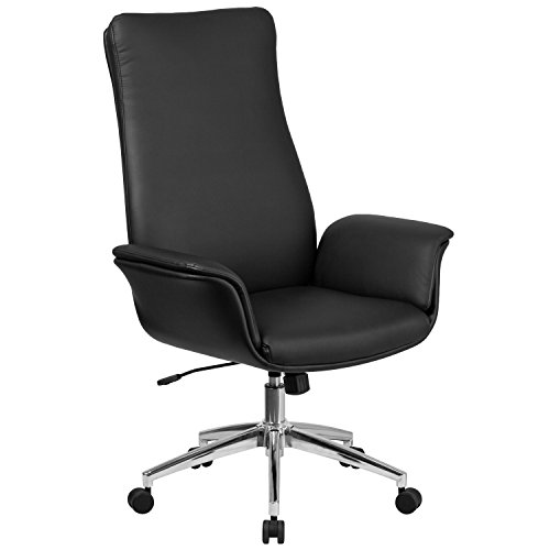Flash Furniture High Back Black Leather Executive Swivel Chair with Flared Arms