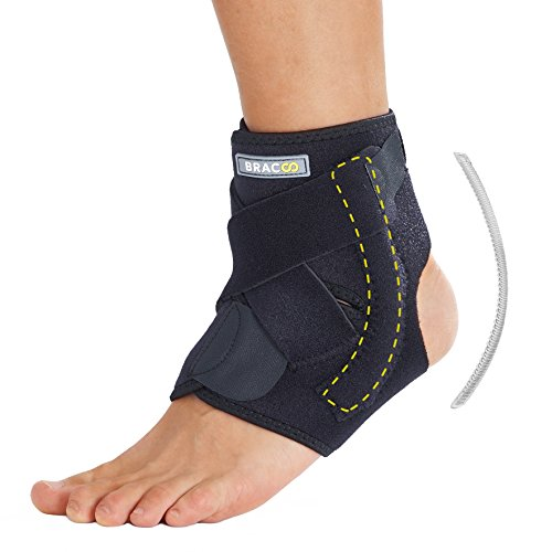 Bracoo Ankle Brace, Dual Spring Stabilizers, Open-Heel, Adjustable Support – Dynamic Splint Flexion Resistance, Joint Stress Reduction & Rehabilitation, S/M (Ankle Strap Dual Support)