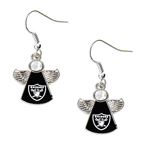 Sports Team Oakland Raiders Logo Crystal Angel Wings Dangle Earring Set