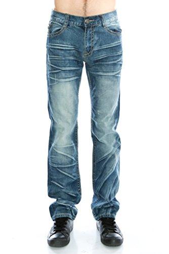 DELUXE Men's Slim Fit Straight Leg Jeans(031 Denim, Size (Old Navy Denim Carpenter Pants)