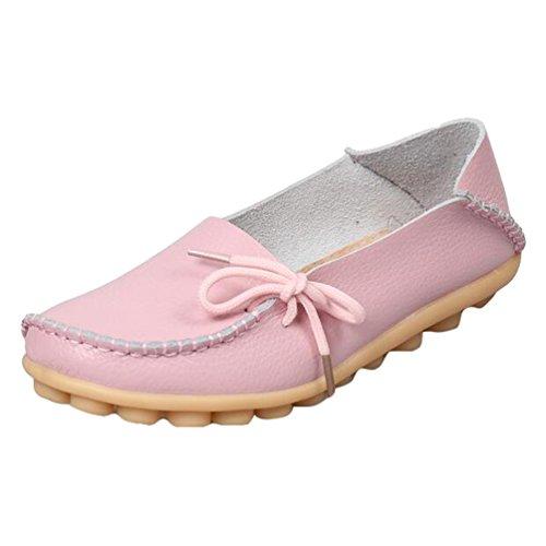 Loafers Heheja Mujer Zapatillas Piso con Bowknot Casual Cuero Pink de Zapatos Mocasines fqSrwq4I