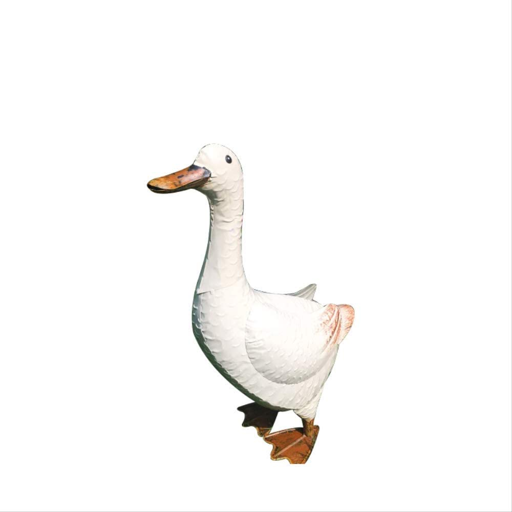 SUPERHUA Statues for Home Decor Country Iron Big White Goose Iron Duck Ornament Courtyard Outdoor Garden Water Feature Decoration.