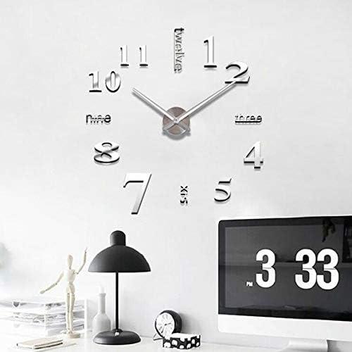 Tivollyff ファッションデジタル時計ミラーウォールステッカーシルバー