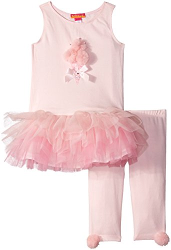 Kate Mack Baby Girls Pom Party Tunic and Legging Set, Pink, ()