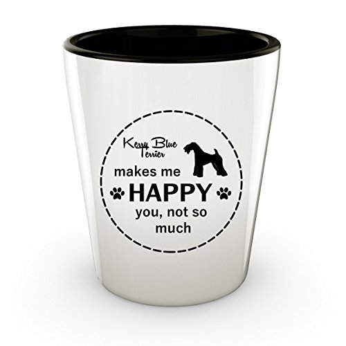 Funny Kerry Blue Terrier Dog - White Shot Glass - 1.5 oz - Ceramic - Perfect Gift For Birthday, Christmass & Special Occasions