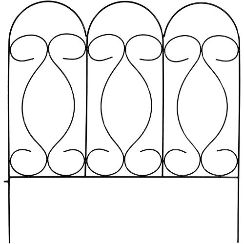 Scrolled Metal Traditional - Sunnydaze 5 Piece Traditional Border Fence Set, Decorative Metal Garden Fencing, 24 Inches x 24 Inches Wide Each Piece, 10 Feet Overall