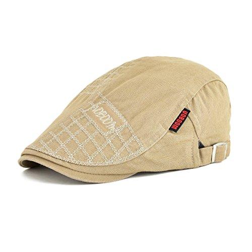 VOBOOM Men Cotton Adjustable Newsboy Beret Ivy Cap Cabbie Flat Cap MZ100 (Light Brown)