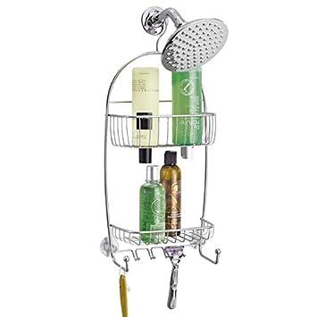 mdesign duschablage edelstahl duschregal ohne bohren montieren duschkorb zum hngen silberfarbene und rostfreie - Duschzubehor Zum Hangen