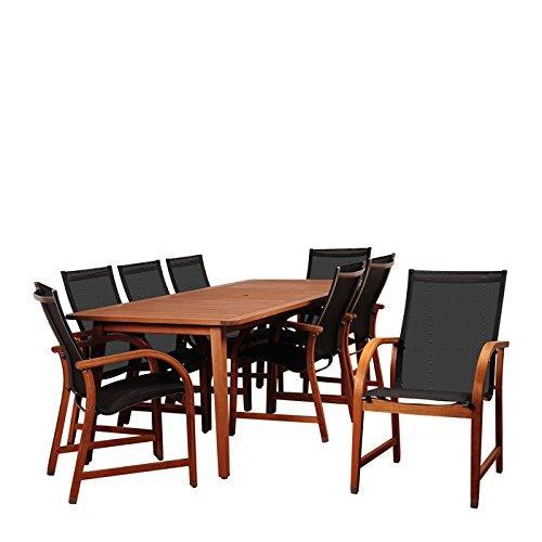 International Home Miami SC ARIZ-8MANHA Amazonia Bahamas 9 Piece Eucalyptus Rectangular Dining Set with Black Sling Chair