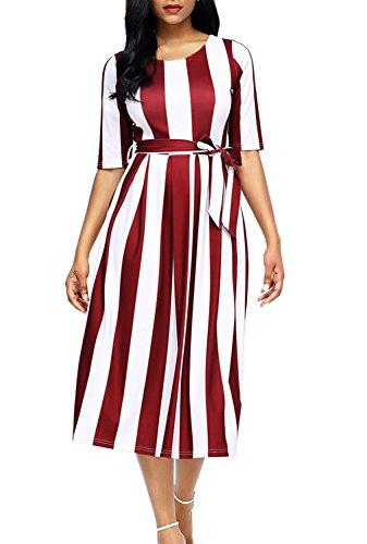 Belted Print Belt - Dokotoo Womens Elegant 1950s Spring Stripe Belt Half Sleeve High Waist Swing Skater Midi Dresses for Work Wine Small