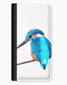 Geometric Kingfisher Bird Digital Design iPhone 5/5s Leather Flip Case wangjiang maoyi