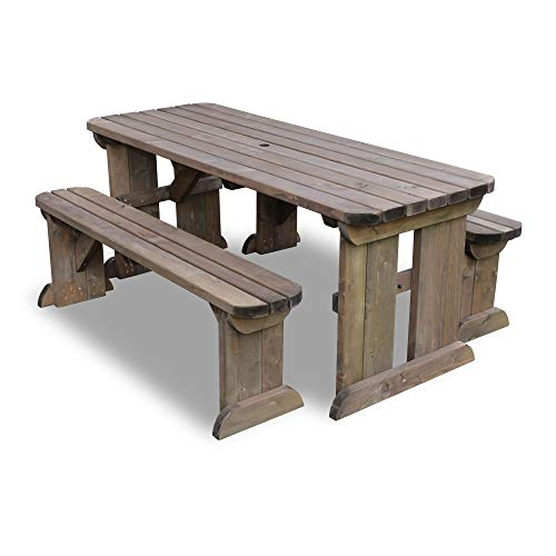 Rutland County Garden Furniture – Tinwell Rounded Picnic Table and Bench Set – Ideal For Gardens And Patios (6 ft…