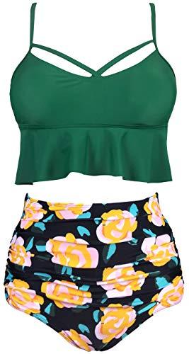 Gabrielle-Aug Women's Retro Two Pieces High Waisted Ruffle Bikini Set Flounce Falbala Swimwear Bathing Suit (Green, 14) ()