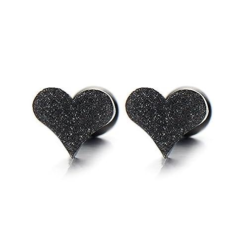 Pair Black Satin Heart Stud Earrings Stainless Steel, Screw Back