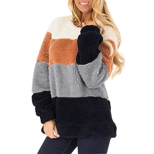 Women's Casual Long Sleeve Color Block Pullover Sweatshirt Fuzzy Fleece Tops