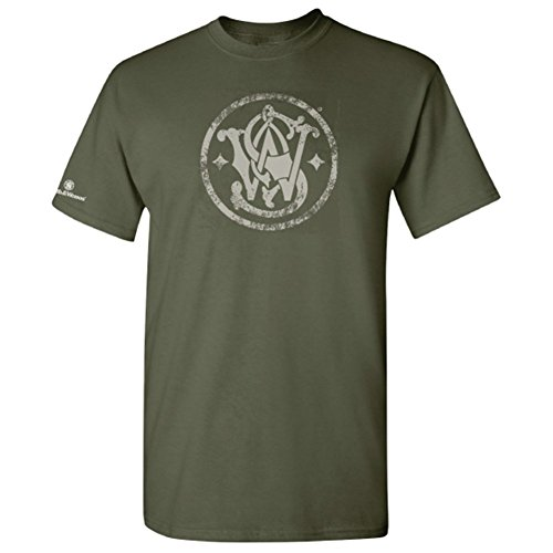 Smith & Wesson Men's Distressed Emblem T-Shirt (Green - M)