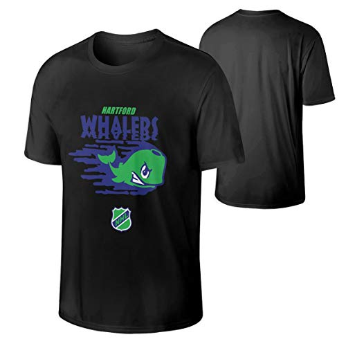 Man Hartford Whalers T-Shirt Fashion Games Tops 4XL Gift Black ()
