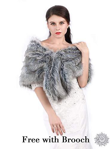 Aukmla Wedding Fur Wraps Shawls for Women with button (Grey)